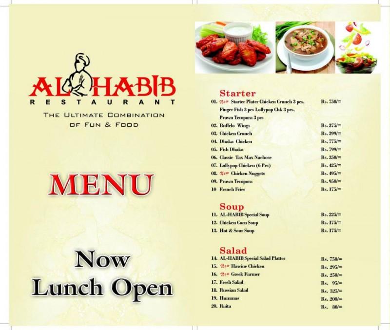 Al Habib Dha Phase 8 Restaurant In Karachi Menu
