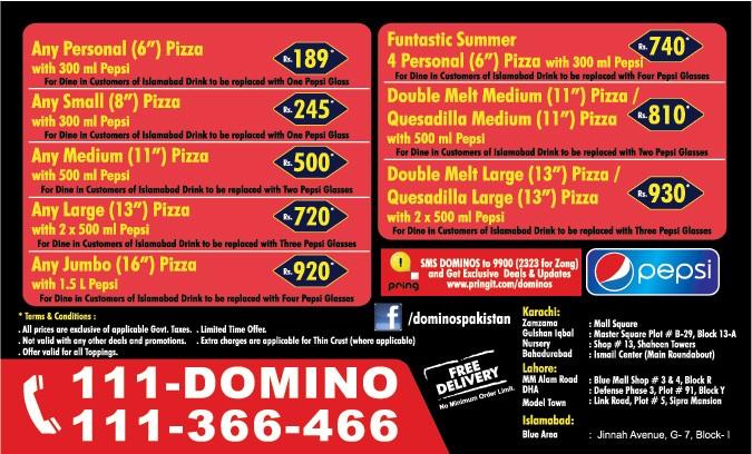 Dominos Pizza Menu >> Dominos Pizza, Bahadurabad Restaurant in Karachi - Menu, Timings, Contacts, Map