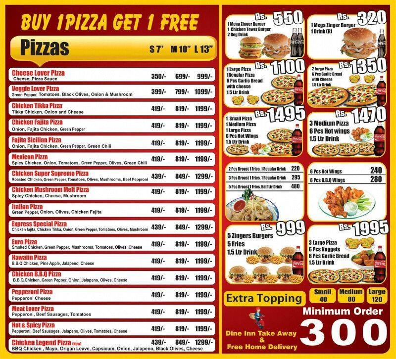 Pizza Express Restaurant In Dha Lahore Menu Timings