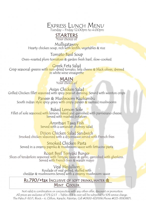 The Patio Express Lunch Menu