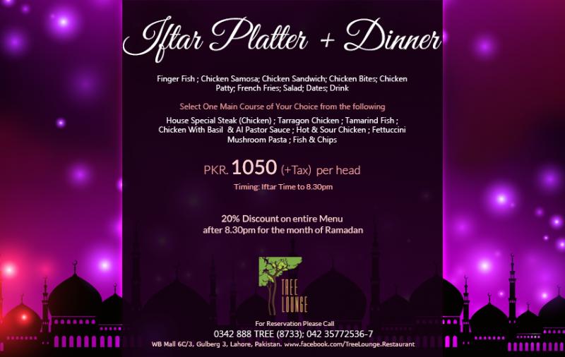 Tree Lounge Restaurant in Gulberg 3 Lahore - Menu, Timings