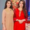Minal Khan With Aiman Khan In Red Dress