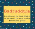 Badrudduja Name Meaning Full moon of the dark (night), An epithet of the Holy Prophet Muhammad (pbuh)