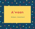 'waan Name Meaning Helper, Assistant