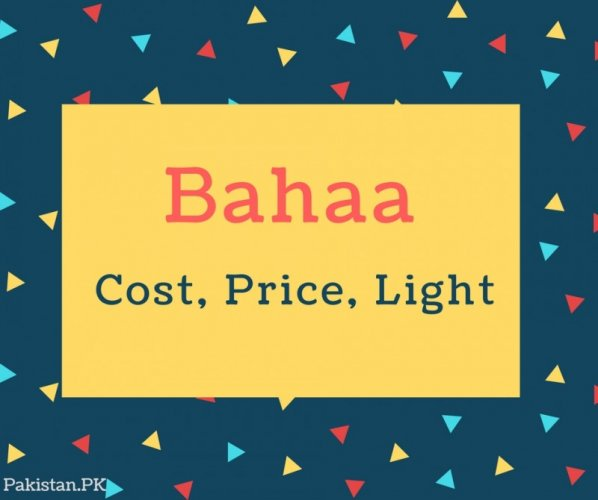 Bahaa Name Meaning Cost, Price, light