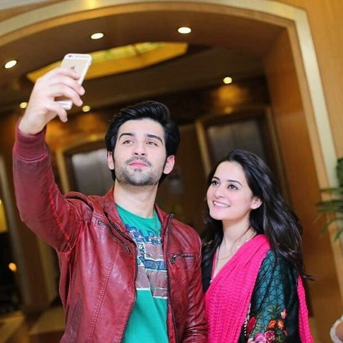 Muneeb Butt With Aiman Khan Selfie