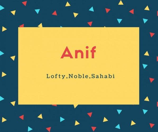 Anif Name Meaning Lofty,Noble,Sahabi