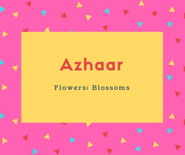 Azhaar Name Meaning Flowers; Blossoms