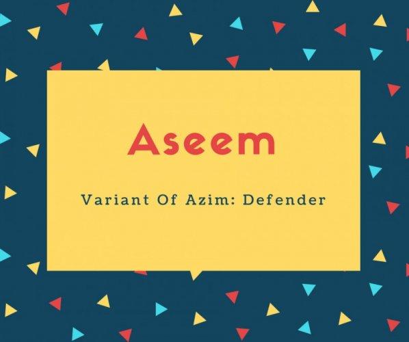 Aseem Name Meaning Variant Of Azim_ Defender