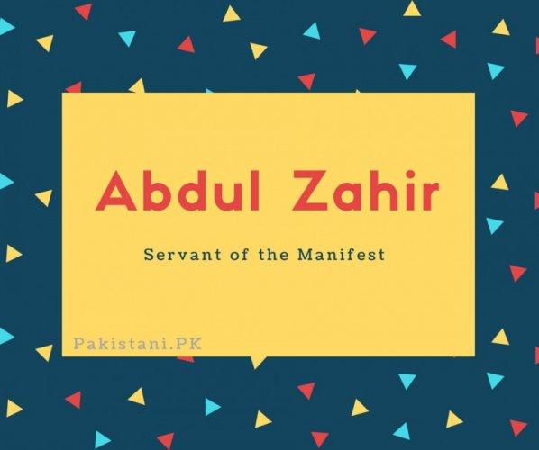 Abdul Zahir