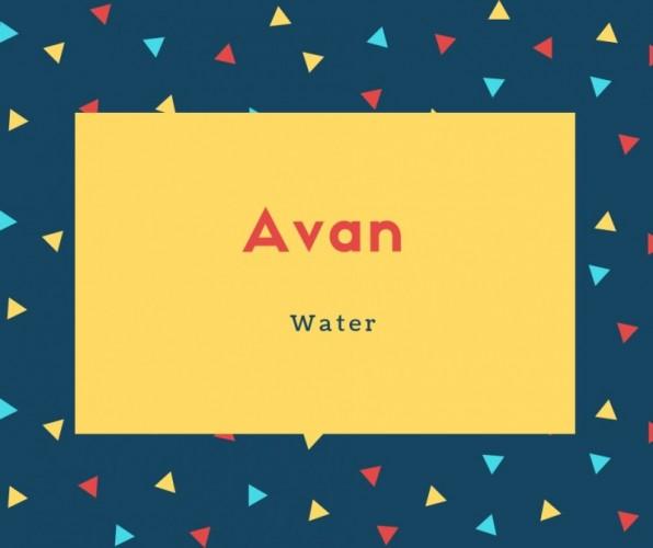 Avan Name Meaning Water