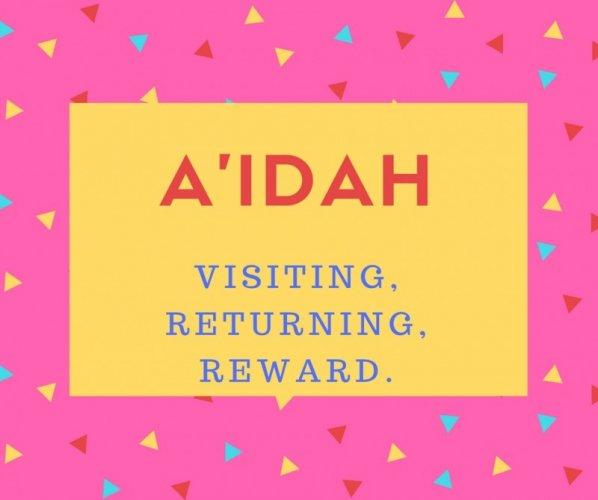 A`idah Name Meaning Visiting, Returning, Reward
