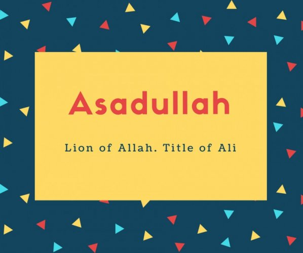 Asadullah Name Meaning Lion of Allah. Title of Ali