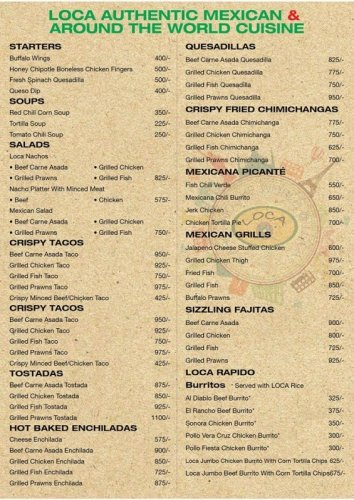 Loca-Authentic Mexican Cuisine Menu 1