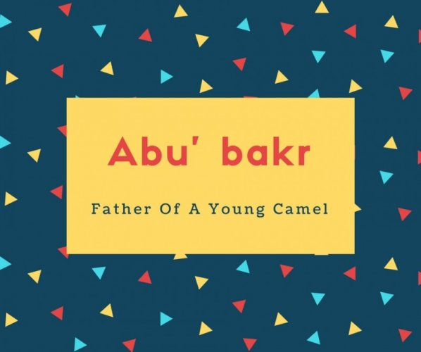 Abu' bakr Name Meaning Father Of A Young Camel