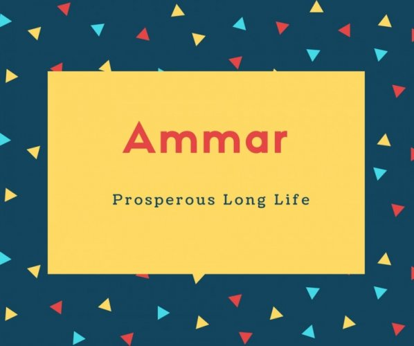 Ammar Name Meaning Prosperous Long Life