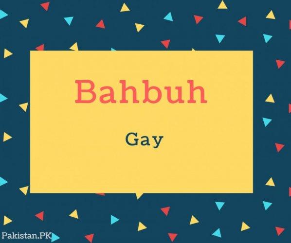 Bahbuh Name Meaning Gay