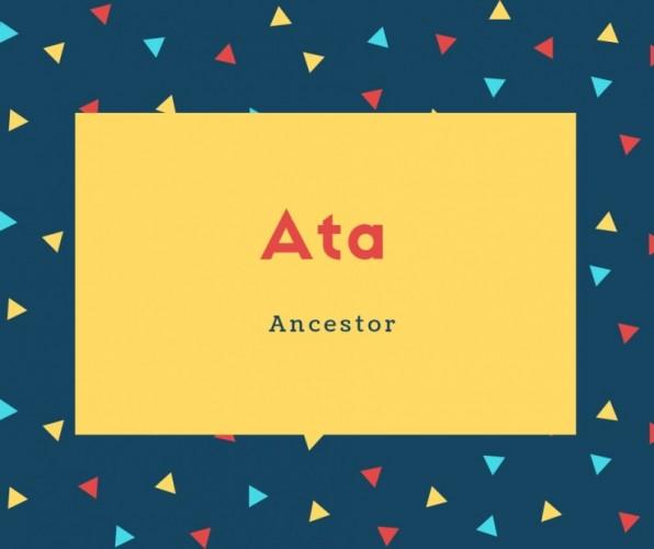Ata Name Meaning Ancestor