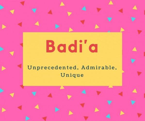 Badi'a Name Meaning Unprecedented, Admirable, Unique