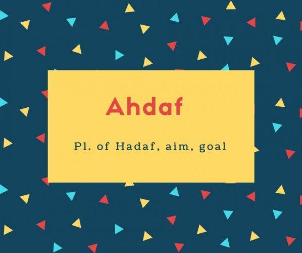 Ahdaf Name Meaning Pl. of Hadaf, aim, goal