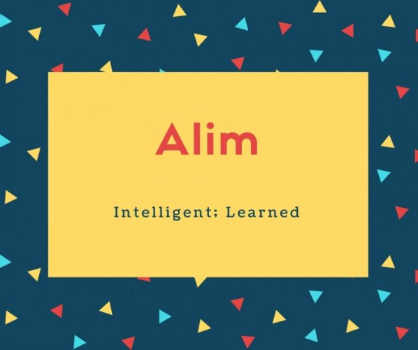 Alim Name Meaning Intelligent; Learned