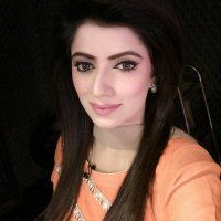 Cute Mariam Fayyaz in Orange Dress