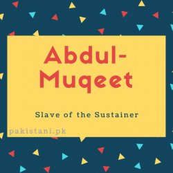 Abdul Muqeet name meanin Slave of the Sustainer.
