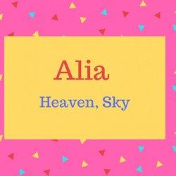 Alia Name Meaning Heaven, Sky