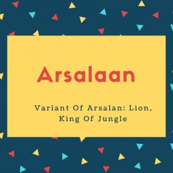 Arsalaan Name Meaning Variant Of Arsalan_ Lion, King Of Jungle
