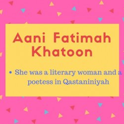 Aani Fatimah Khatoon meaning She was a literary woman and a poetess in Qastaniniyah