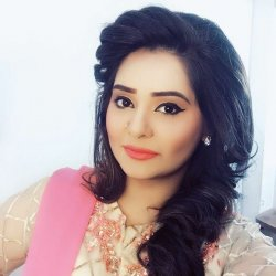 Cute Iqra Haris in Pink and Cream Color Dress
