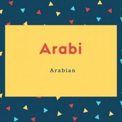 Arabi Name Meaning Arabian