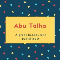 Abu Talha Name Meaning A great Sahabi who participate