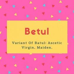 Betul Name Meaning Variant Of Batul- Ascetic Virgin, Maiden
