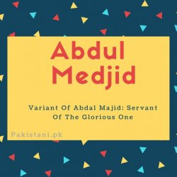 Abdul medjid name meaningVariant Of Abdal Majid- Servant Of The Glorious One.