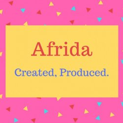 Afrida name meaning Created, Produced.