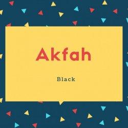 Akfah Name Meaning Black
