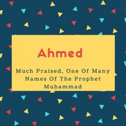 Ahmed Name Meaning Much Praised, One Of Many Names Of The Prophet Muhammad