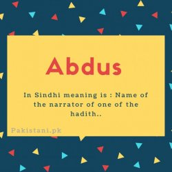 Abdus name meaningIn Sindhi meaning is - Name of the narrator of one of the hadith.