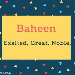 Baheen Name Meaning Exalted, great, noble.