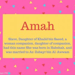 Amah Name Meaning Slave, Daughter of Khalid bin Saeed, a woman companion, daughter of companion, had this name She was born in Habshah, and was married to Az-Zubayr bin Al-Awwam