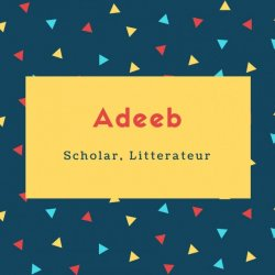 Adeeb Name Meaning Scholar, Litterateur