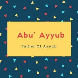Abu' ayyub Name Meaning Father Of Ayyub