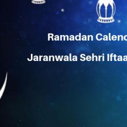 Ramadan Calender 2019 Jaranwala Sehri Iftaar Time Table