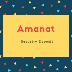 Amanat Name Meaning Security Deposit
