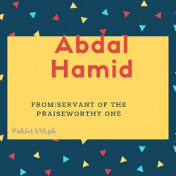 Abdal Hamid nme meaning Servant Of The Praiseworthy One.