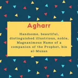 Agharr Name Meaning Handsome, beautiful, distinguished illustrious, noble, Magnanimous Name of a companion of the Prophet, bin al-Muzan