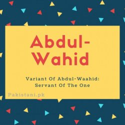 Abdul wahid name meanin g Variant Of Abdul-Waahid- Servant Of The One.