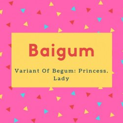 Baigum Name Meaning Variant Of Begum- Princess. Lady