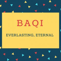 Baqi Name meaning Everlasting, Eternal.